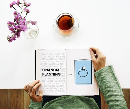announce: Illustration of economy financial planning piggy bank on book
