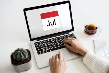 Illustration of calendar schedule planning on laptop