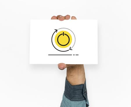 Hand holding network graphic overlay billboard Banco de Imagens - 81375899