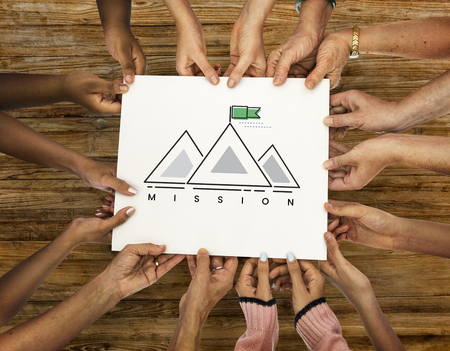 opportunity sign: Illustration of goals target with mountain on banner Stock Photo