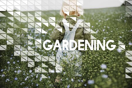 Tuinieren woord op planten achtergrond