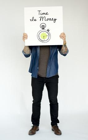 Man met banner bedekking gezicht netwerk grafische overlay Stockfoto - 81376447