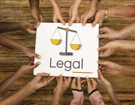 equal opportunity: Hands holding banner of justice scale rights and law illustration