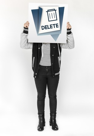 Illustration of garbage trash bin eliminate delete