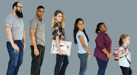 Various of diversity people full body set standing on background Stok Fotoğraf - 81380251
