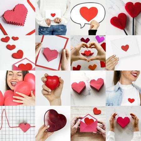 Adult Woman with Love Heart Artwork Studio Collage Фото со стока