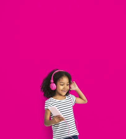 techie: Little Girl Listen Music Happy Smile Studio