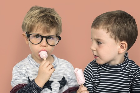 Little Boys Eating Ice Cream Cute Adorable