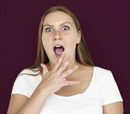 Caucasian Girl Shocked Hand Gesture Stok Fotoğraf