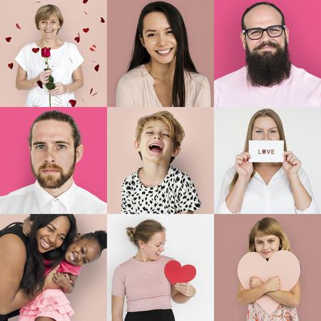 다양성의 집합 심장 사랑 스튜디오 콜라주와 사람들 스톡 콘텐츠