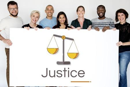 Illustratie van de schaal van het rechtvaardigheidsoordeel