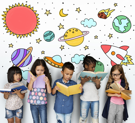 Group of students studying astronomy outerspace Stock Photo
