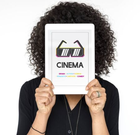 Woman holding digital device covering face network graphic overlay Stock Photo