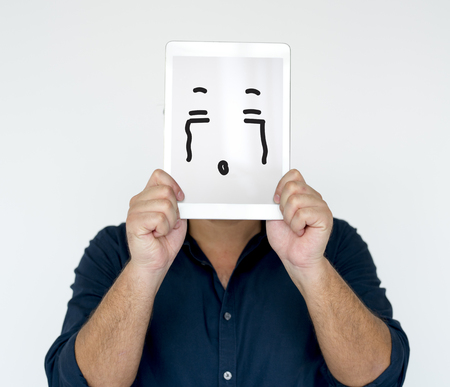 Illustration of awful sadness face on banner 版權商用圖片