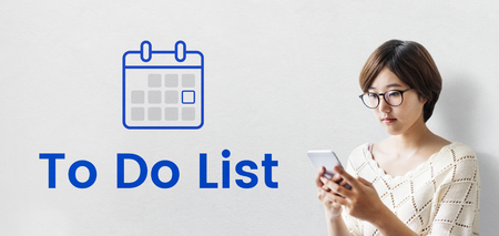 Woman planning with illustration of personal organizer calendar Stock Photo