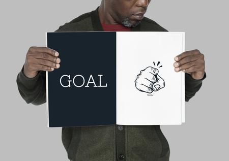 Ilustración del dedo apuntando con aspiraciones motivadas Foto de archivo - 81387480