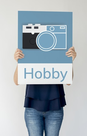 snapping: Woman holding banner of camera collect the memories illustration
