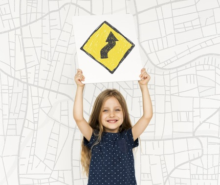 Young girl holding network graphic overlay banner
