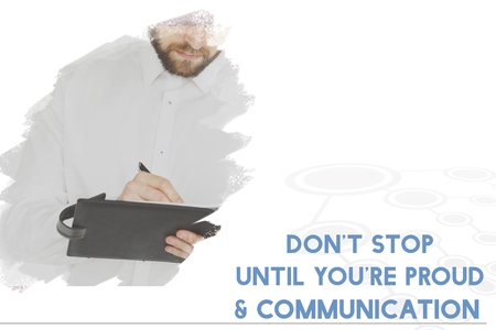 Dont Stop Until You Are Proud Word on Working Man Background Stock Photo