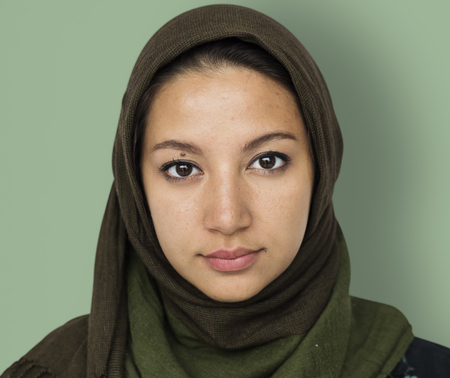 Arabian Woman Face Covered with Hijab Studio Portrait