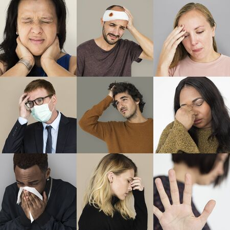 hankie: Set of Diversity People with Health Sickness Studio Collage Stock Photo