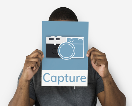 Man holding banner of camera collect the memories illustration