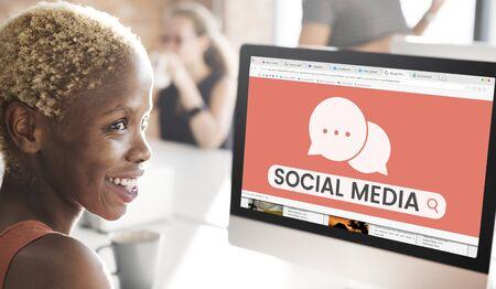 Illustration of social media communication technology