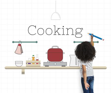 子供料理キッチン用品のイラスト