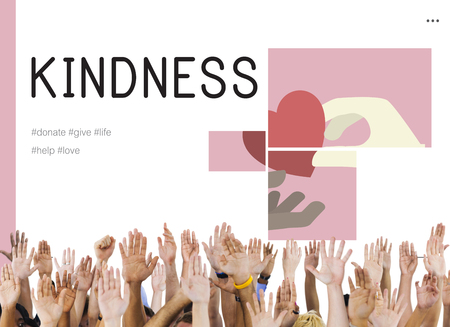 Human hands with charity donations campaign illustration