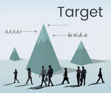 Business target analysis graph illustration