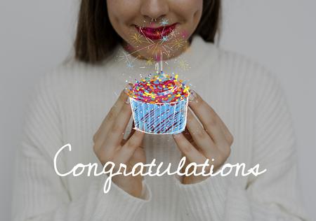 Woman holding heart happiness celebration Stock Photo