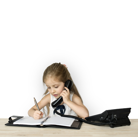 Little Girl Working Business Woman Stock Photo