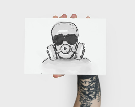 Stop Anti Against Abandon Gas Mask Word Graphic Stock fotó - 81391220