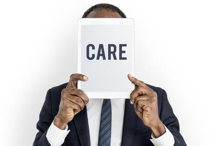 Care concept on digital tablet