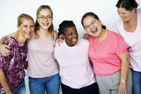 Group of Multiethnic Women Wear Pink Shirt