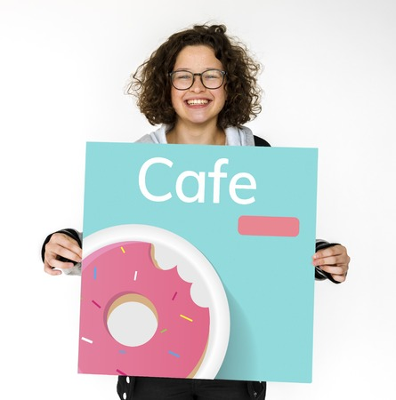 Young girl holding banner of sweet dessert donut pastry commercial illustration