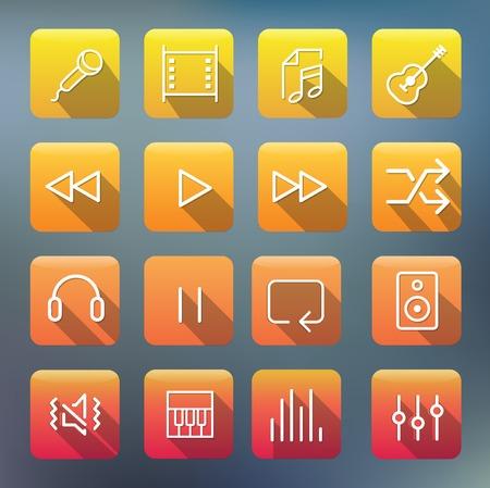 Icon Collection Vector Music Media Concept