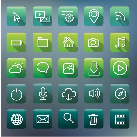 Icon Collection Vector Application Content Concept Иллюстрация