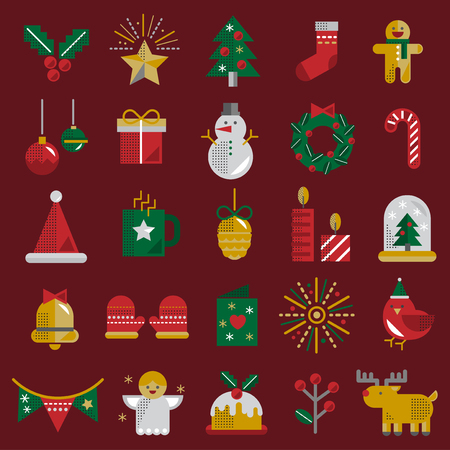 Christmas Vector Icon Set Collection Concept Stock Vector - 81443269