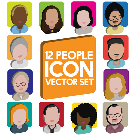 Diversity Interracial Community People Flat Design Icons Concept Illustration