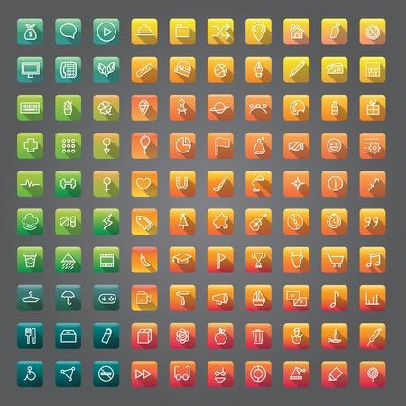 アイコン コレクション ベクトル アプリケーション コンテンツのコンセプト  イラスト・ベクター素材