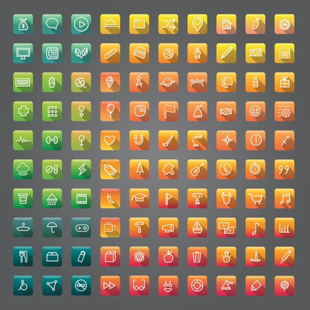 Icon Collection Vector Application concetto contenuto