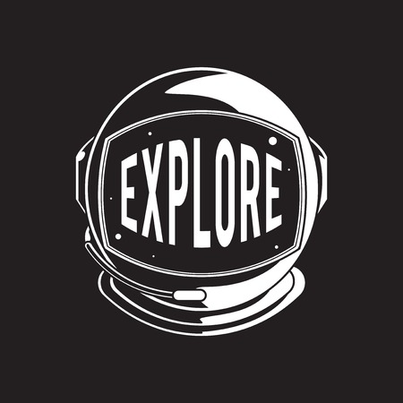 Ontdek Exploration Astro Icon Word Graphic Concept Stock Illustratie