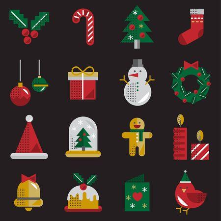 Christmas Vector Icon Set Collection Concept