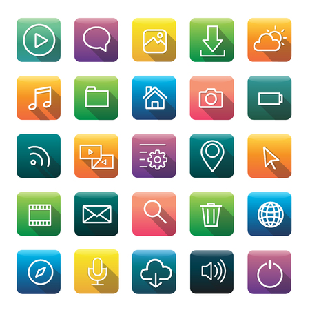 uploading: Icon Collection Vector Application Content Concept Illustration