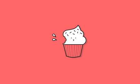 Vector Sign Cupcake Icon Concept