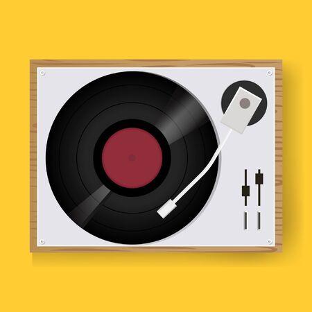 Disco de vinilo retro tocadiscos jugador icono ilustración vectorial