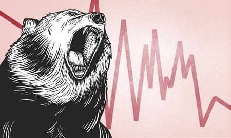 Bear Market Icon Symbol Vector Concept Vettoriali