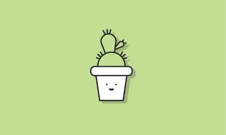 Cactus Pot Plant Icon Vector Concept