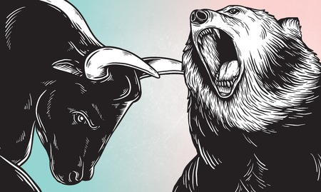 Bull and Bear Market Investment Business Icon Concept